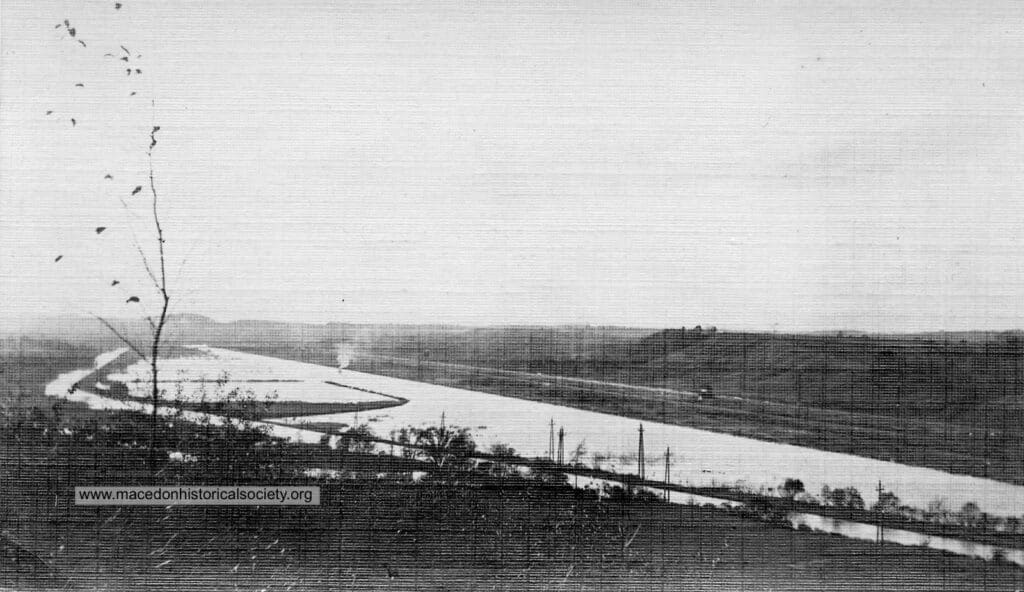 View of canal near Frears (Canandaigua Road) Bridge. This photo is facing west, towards Wayneport Road
