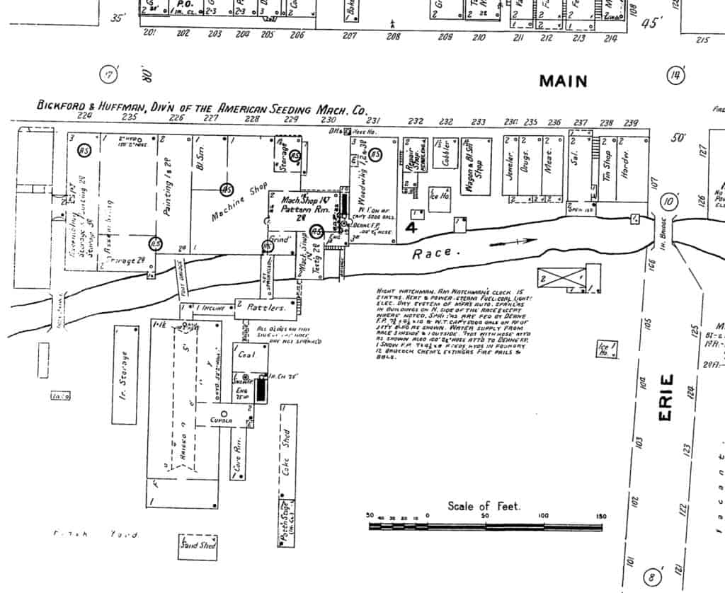 A 1906 Sanborn map showing the Drill Works