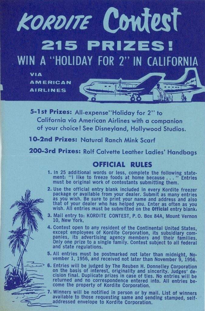 1956 Kordite promotion contest