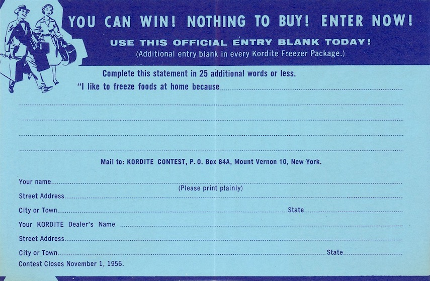 1956 Kordite contest entry form