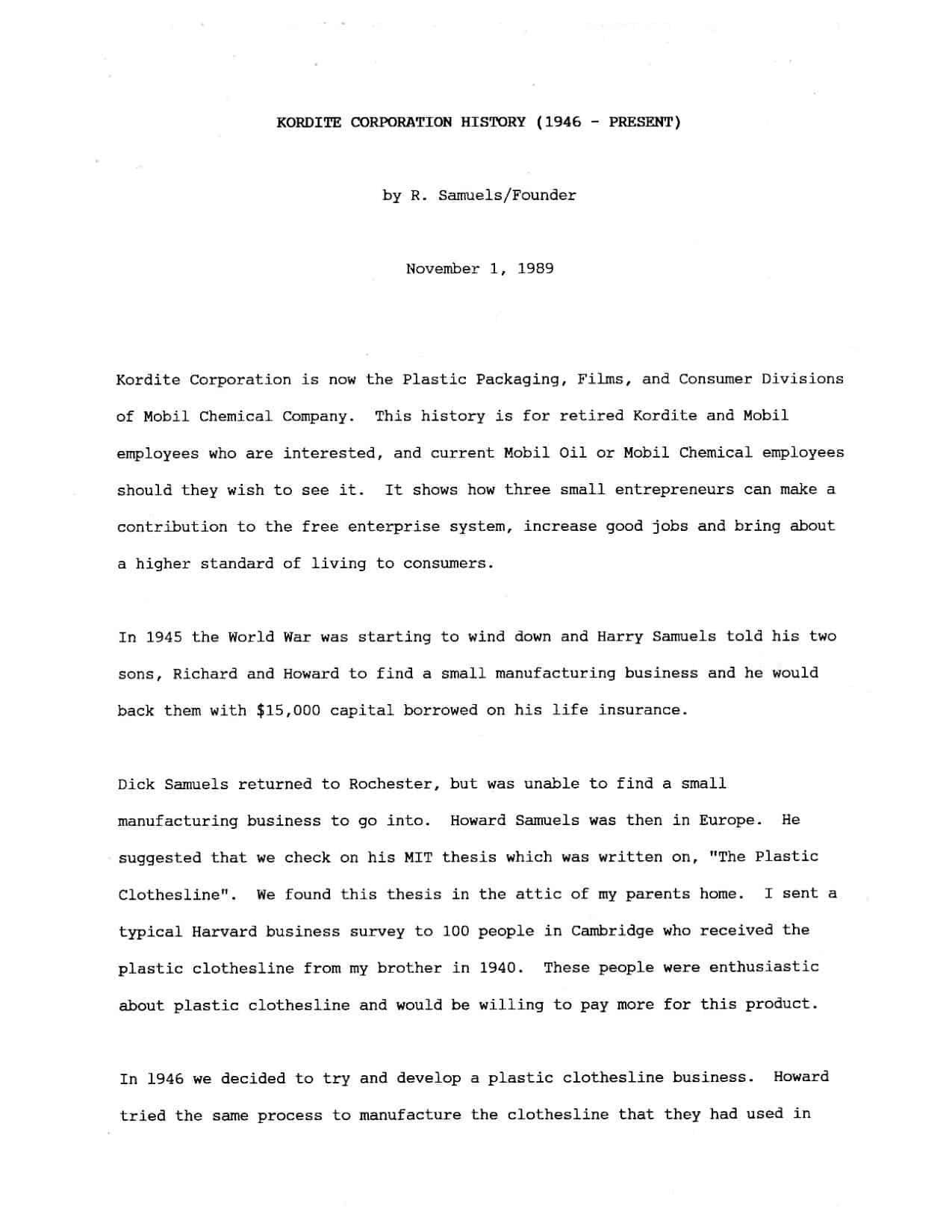 Kordite Corporation History (1946 - 1989) page 1