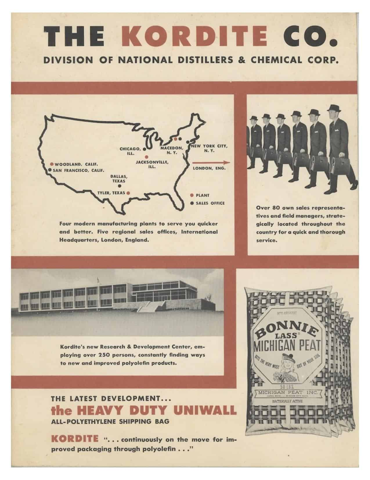 A brochure from the time period when Kordite was owned by National Distillers