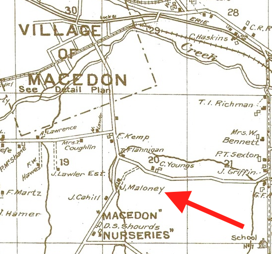 This 1904 map shows the location of the Maloney home.