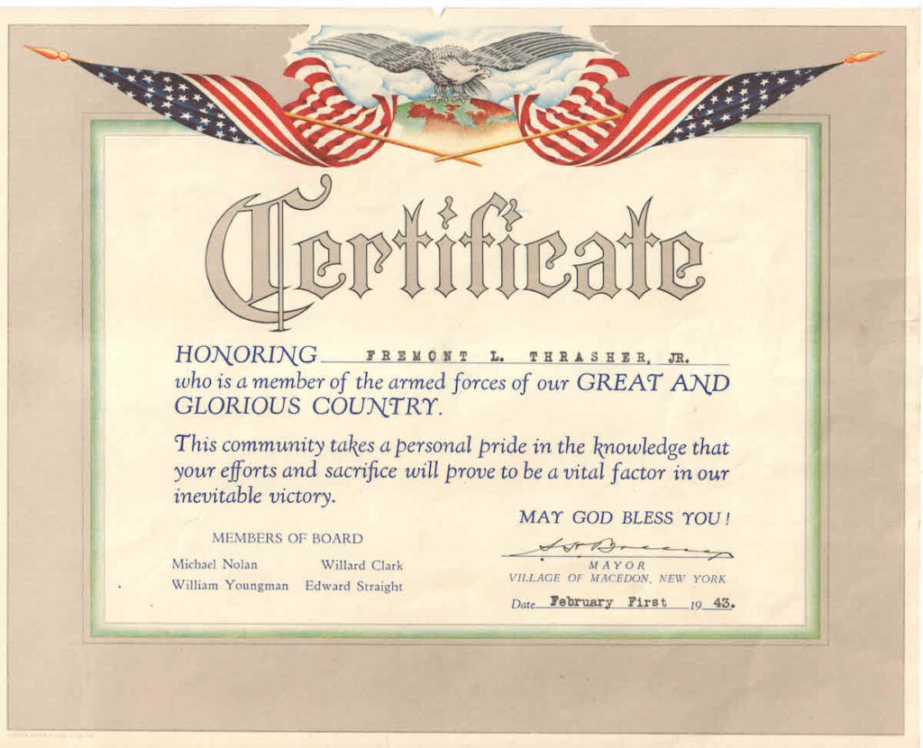 A certificate honoring military service during WWII