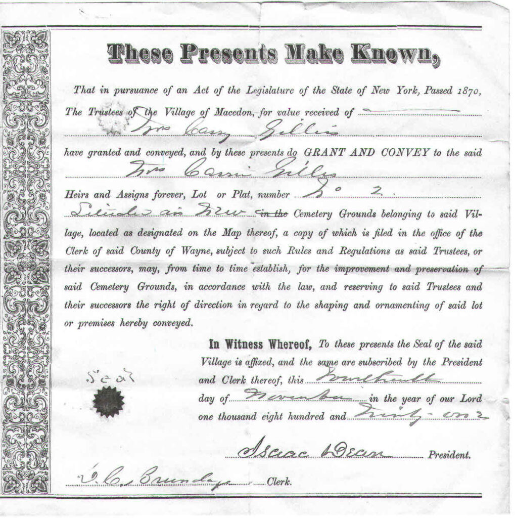 A deed for a lot in the Macedon Cemetery