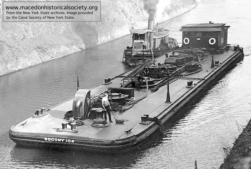 A typical 1920s Standard Oil Company barge that may have delivered oil to Macedon.