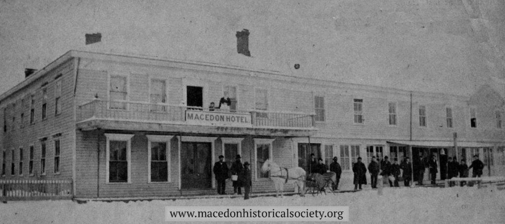 The first Macedon Hotel which burned in 1883.