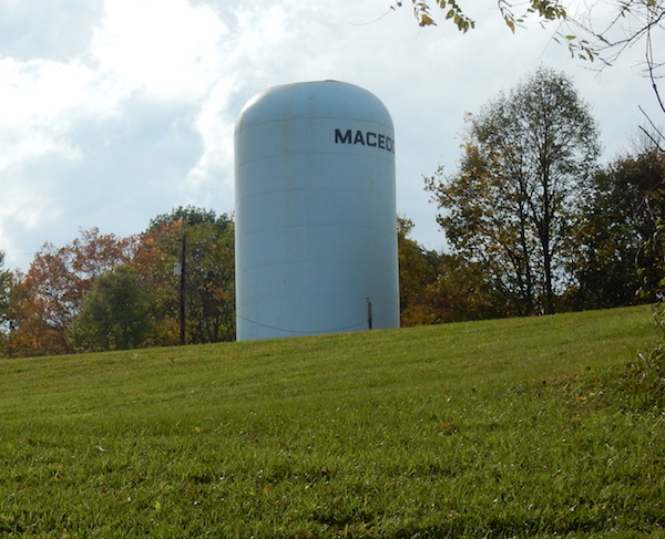 View of the water tank from the ground.